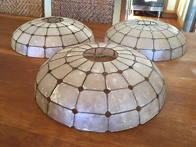 Vintage Retro Mother Of Pearl Shell Lead Light Shades Set Of 3