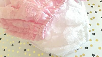Satin feel baby frilly knickers. Occasion nappy covers Pink/White *NEW*