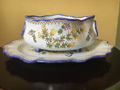 Collectible Faience Pottery Platter And Bowl - Quimper French Floral Design