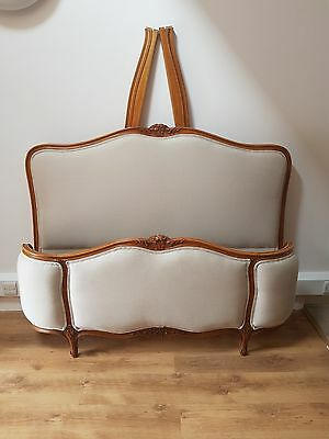 French Demi Corbeille Bed NEWLY UPHOLSTERED DOUBLE - WOOD - LINEN