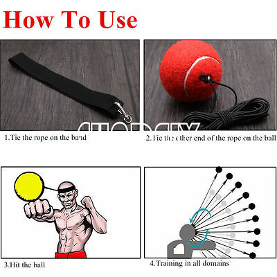 Fight Ball With Head Band Reflex Speed Training Boxing Punch Exercise Red Stock
