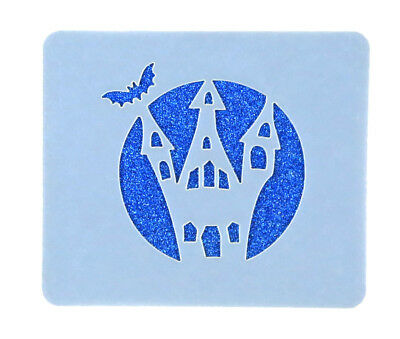 Haunted House Halloween Face Painting Stencil 7cm x 6cm Washable Reusable Mylar