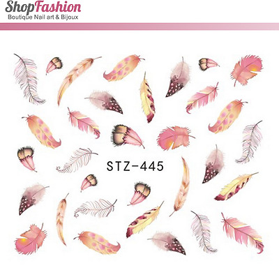 Stickers Ongles Water Décal Nail Art STZ-445 Plume Rose