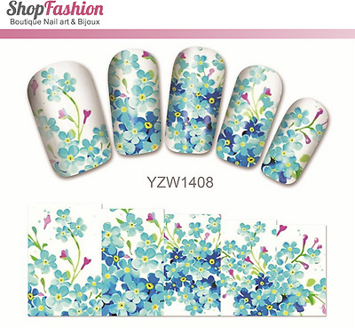 Stickers Ongles Water Décal Nail Art YZW-1408 Fleur