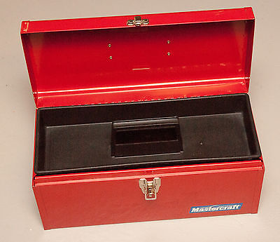 "Mastercraft Canadian Tire - 16"" Red Metal Toolbox with Plastic Tray, Made in USA"