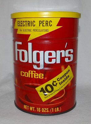 Vintage Folgers Coffee Can Electric Perk 1 Pound Empty Coupon Can