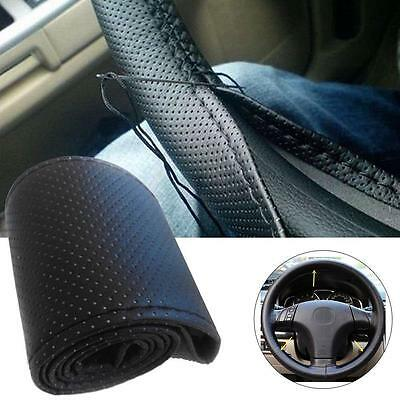 Universal PU Leather DIY Car Steering Wheel Cover With Needle & Thread Black EH
