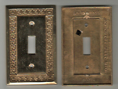 2 Solid Bright Polished Brass Vintage Wall Switch Plates Jackson Deerfield MFG