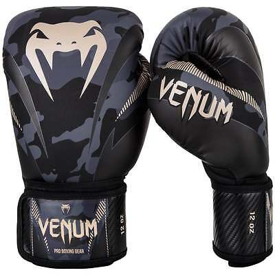 Venum Impact Muay Thai Boxing Gloves Sparring MMA Kickboxing Camo Black Grey