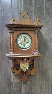 Beautiful Rare Antique JUNGHANS Wag-On-Wall German 8 Day Wall Clock  circa 1895!