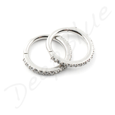 HINGED Micro SEGMENT RING Surgical Steel with MULTI PAVE-SET CRYSTALS Ear Bar
