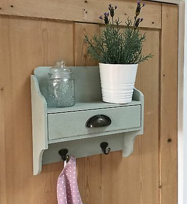 Small Wooden Drawer Shelf With Hooks Kitchen Spice Jar Country Gisela Graham