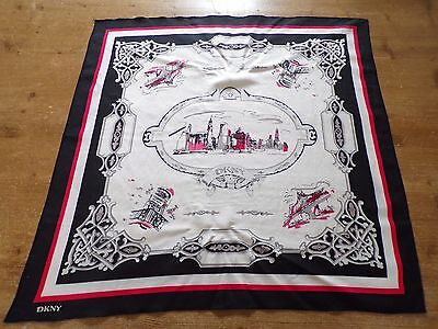 """Ladies  Vtg """"dkny""""  Pictorial  New York Black/red/white  Head Scarf 24.5 In"""
