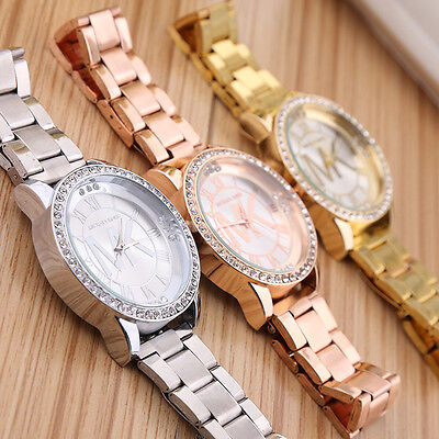 Women Ladies Girl Stainless Steel Band Bracelet Crystal Dial Quartz Wrist Watch