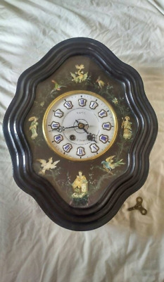 19Th C French Napoleon III Antique Oeil de Boeuf Wall Clock! hand painted scenes