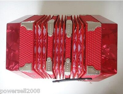 Professional 20 Key Art Form Red Hexagonal Musical Instruments Accordion