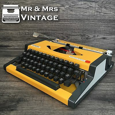 Vintage Olympia Traveller De Luxe Yellow Typewriter Working Black Red Ribbon