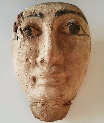 Egyptian Wooden Gesso Sarcophagus Mask