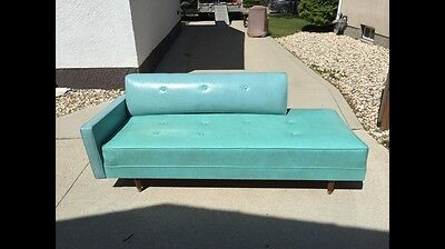 MCM Turquoise Vintage Vinyl Daybed Couch Settee