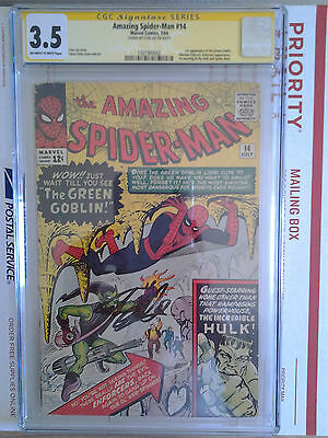 Marvel Amazing Spider-Man #14 1963 Cgc Ss 3.5 Signed Stan Lee 1St Green Goblin