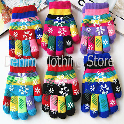 6~60 Kid's Children Boy Girl Snowflake Magic Warm Winter Gloves Knitted Lot