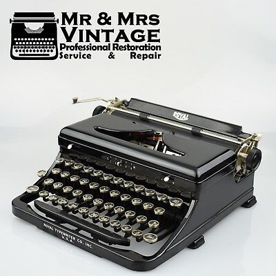 Vintage Royal O Glossy Black Typewriter Glass top keys Black Ribbon Portable
