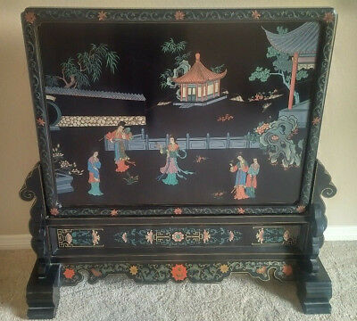 Antique Chinese Coromandel Wood Table Screen Panel Room Divider vtg hand carved