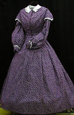 Civil War Day Gown of Dark Royal Purple with White small print, Lace trim