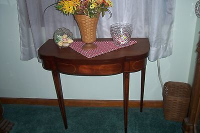 Vintage Mahogany Inlaid Serpentine Front Game Table ,l-B217