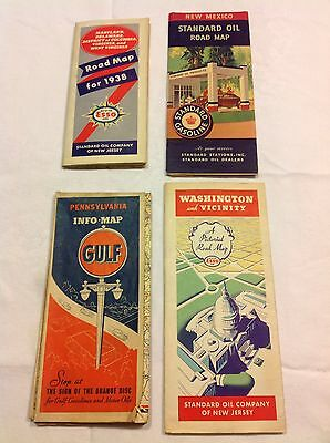 Vtg Esso, Standard Oil, Gulf Maps Of DC, PA, NM From 1938 - Petroliana, Gas