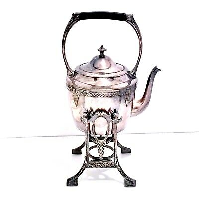 Vintage Antique WMF Silver Plate Tea Pot Hot Water Spirit Tilt Kettle on Stand