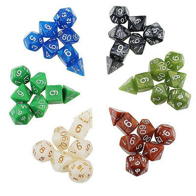 Polyhedral Dice 7-Set Dragons DND RPG MTG Table Games Teaching Math Party EB5