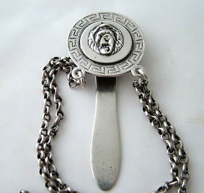RARE VICTORIAN~ London 1875 ~SOLID SILVER CHATELAINE CLIP ~LION HEAD &GREEK KEY