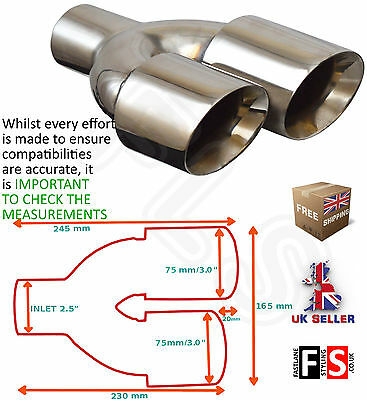 """Stainless Steel Universal Exhaust Tailpipe 2.5"""" In Left"""