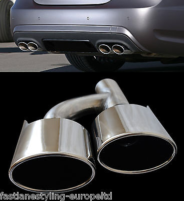 Mercedes Amg Style Quad Stainless Steel Exhaust Tail Pipe Trims (Dual Twin)