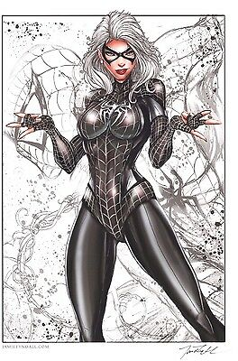Black Cat Spider-Man Suit 11X17 Signed Sketch Art Print By Jamie Tyndall