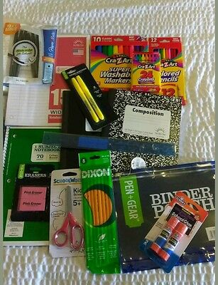 School Supplies Highlighter Pencils Crayons Markers Composition Notebook Pens