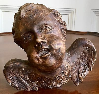 A Well Carved Decorative Antique Carved Wood Cherub With Wings, Wall Mounted.