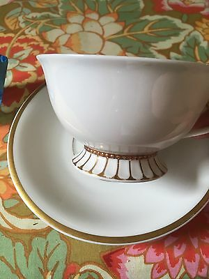 Ohme Tea Cup With Saucer White with Gold Trim 1800's, Germany