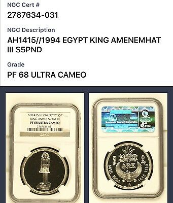 1994 Egypt, Silver Proof 5 Pounds, King Amenemhat Iii, Ngc Pf68