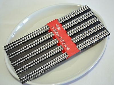 AU Antiskid Durable Stainless Steel Chopsticks Gift 5 Pairs Deluxe Kit 08