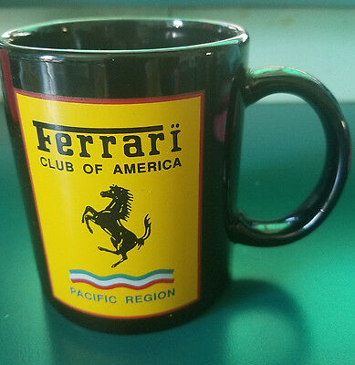Ferrari Club of America, Pacific Region Vintage Black Coffee Cup / Mug