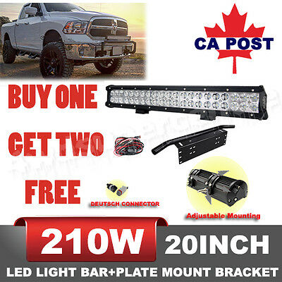 20inch 210W CREE LED Combo Light Bar With Front Bumper License Plate Offroad 4WD