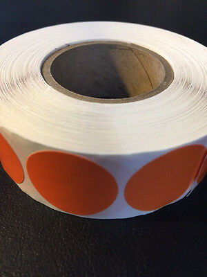"""Orange Round Blank Labels; 1000 each per roll; size: 1"""" Stickers; Tabs"""