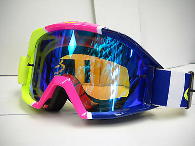 18434-045 Fox Main Navy Blue, Pink, Lime Green Goggles w Blue Lens Adult Goggles