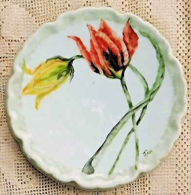 VINTAGE MID-20th CENTURY COLORFUL HAND PAINTED PORCELAIN TRIVET - SIGNED