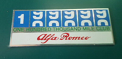 Alfa Romeo Owner's Club One Hundred Thousand Mile Club Dash Badge