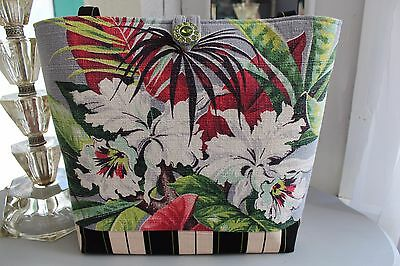 White Orchids Tropical * Tote Purse * Vtg Barkcloth Fabric & Rhinestone Button!