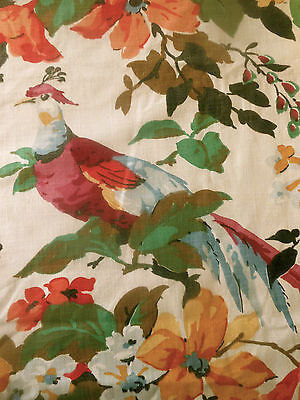 Antique Vintage Bird Floral Cotton Fabric ~ Magenta Red Olive Tangerine Marigold