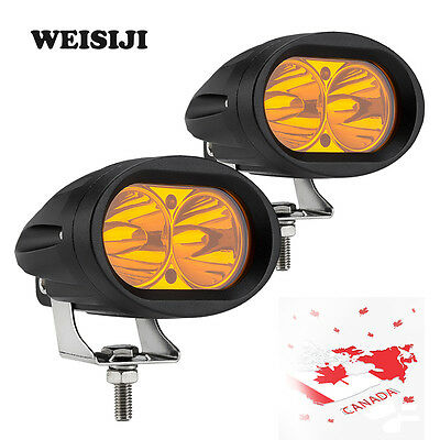 2pcs Cree 20W Amber/Yellow LED Work Fog Driving Spot Light Bar Off-road WEISIJI
